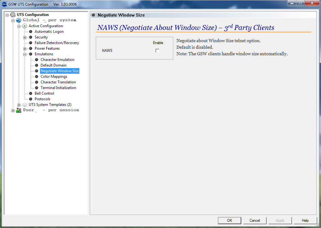 Emulations - Negotiate Windows Size (NAWS)